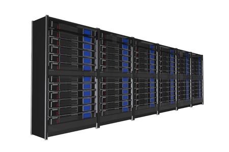 Isolated on White Large Servers Rack 3D Render Illustration.