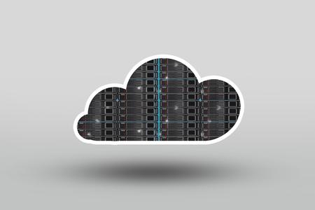 storage device: Cloud Server Concept Illustration. Cloud Shape Server Racks. Cloud Technology.