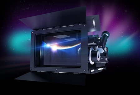 motion picture: Cinema Concept. Modern Professional Motion Picture Camera with Mattebox and Follow Focus on Abstract Space Background.