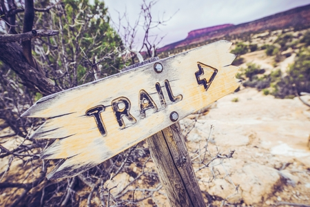 Wooden Utah Park Trail Sign. Trail Path. Utah, United States. photo