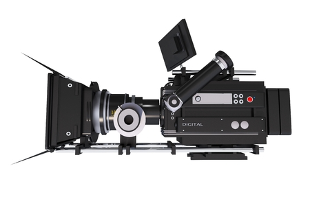 Modern Digital Cinema Camera Side View Isolated on White. 3D Motion Picture Camera Illustration. Stock Photo