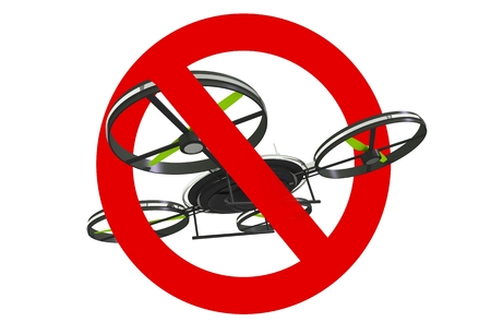 Drone Use Prohibited Sign. 3D Illustration Isolated on White Background.