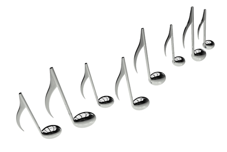 composing: Silver Chrome Music Notes Isolated on White Background.