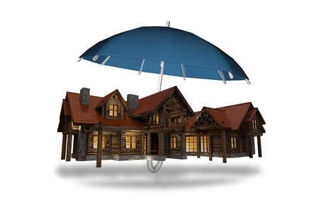 Home Insurance Concept Illustration. Large Log Home Covered by Umbrella.
