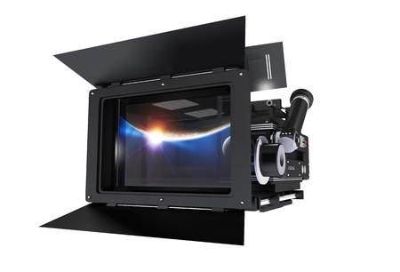 3D illustratie van Cinema Camera met grote Mattebox op een witte achtergrond. Vooraanzicht.