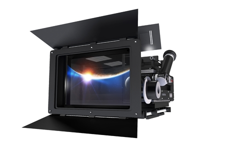 film director: 3D illustration of Cinema Camera with Large Mattebox Isolated on White Background. Front View.