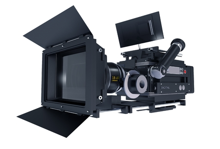 Motion Picture Camera Isolated on White Background. 3D Illustration of Professional 35mm Digital Cinema Camera.