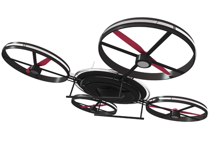 drone: Drone Illustration 3D Isolated on White. Quadrocopter Technology Stock Photo