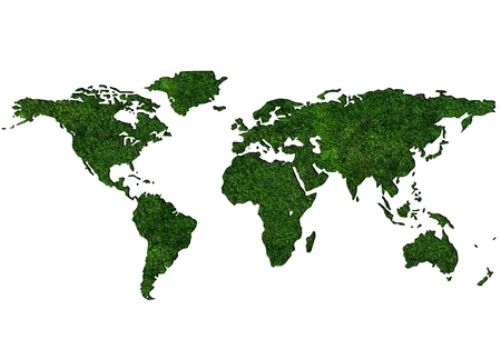 Grassy World Map. World Map Textured by Grass Isolated on White.