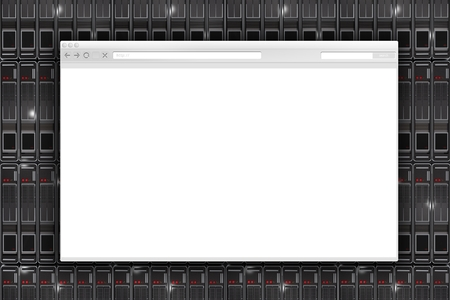 Internet Browser and Servers. Browser on the Servers Wall 3D Illustration.