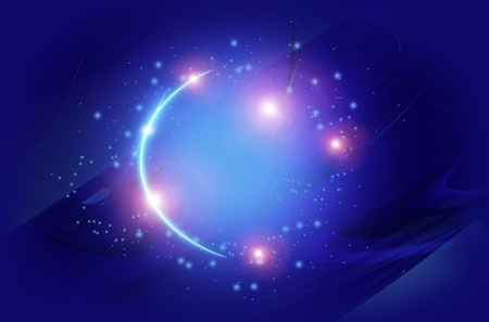 Fantasy Blue Spot with Glowing Stars Abstract Background Illustration.