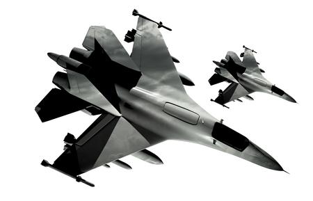 avion de chasse: Deux Jets Fighter isolé sur fond blanc. Banque d'images