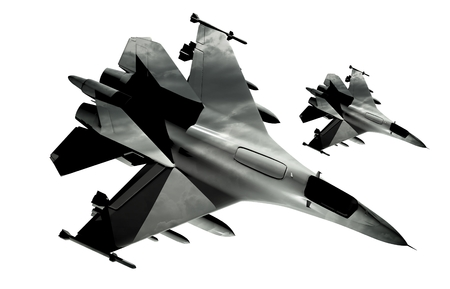 jets: Two Fighter Jets Isolated on White Background. Stock Photo