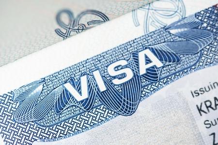 アメリカのビザのクローズ アップ写真。アメリカの大使館によって発行されたビザ 写真素材