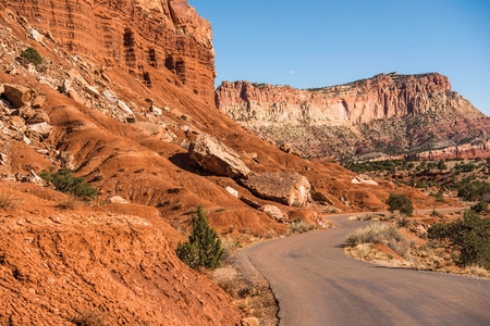 dangerous reef: Capitol Reef National Park Scenic Curved Road. Utah, United States.