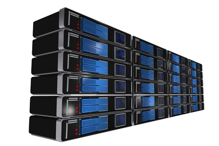 virtualization: 3D Illustration of Rack Servers Isolated on White. Datacenter Servers.