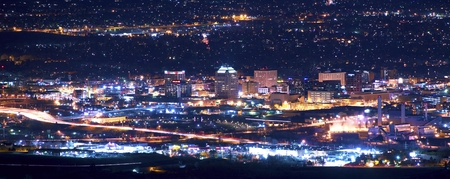 Colorado Springs at Night Panoramic Photography. Colorado Springs, Colorado, United States. Stock Photo