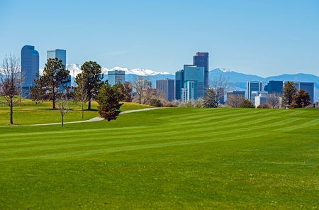 denver skyline with mountains: Denver Green Fields, Denver Downtown Skyline and Rocky Mountains Under the Snow. Colorado, United States.