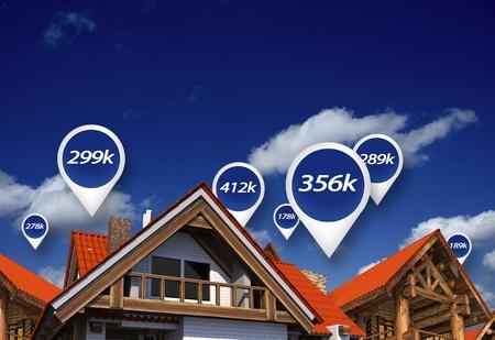 プロパティ上の不動産市場ブルー価格タグ。住宅価格。3 D の抽象的なイラスト。