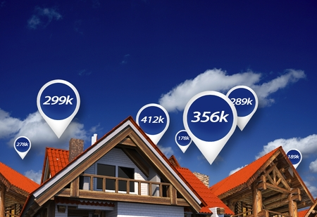 부동산 시장 위 파란색 가격 태그입니다. 주택 가격. 3D 추상 그림입니다.