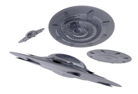 Silver Shiny Vliegende schotels die op Witte Solid Achtergrond