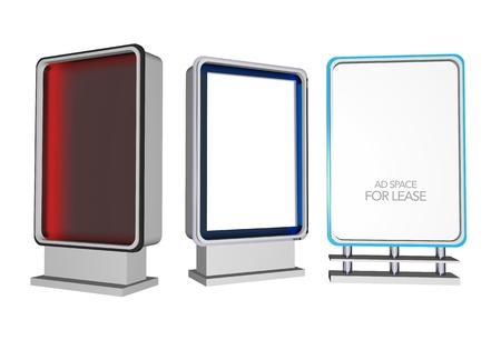 backlite: Three Outdoor Ad Displays. Backlite Poster Displays 3D Illustration. Outdoor Marketing Equipment.