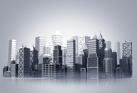 Glassy City Skyline Illustration Background Concept. Modern City with Skyscrapers 3D Render Illustration.