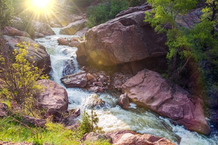 river: Mountain River Closeup. South Boulder Creek River. Colorado, United States.