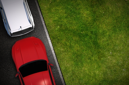 city view: Side Parking with Copy Space on the Grass Illustration. Top View.