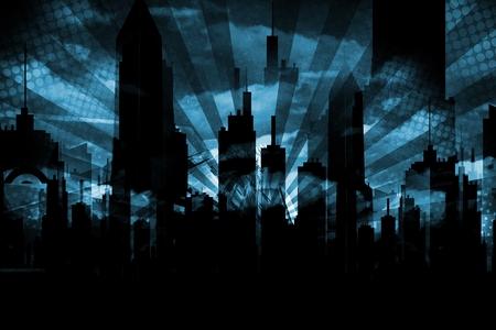 creepy: Dark Blue Grungy City Skyline Background Illustration.