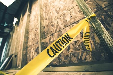 Construction Yellow Caution Tape Closeup. Construction Zone.