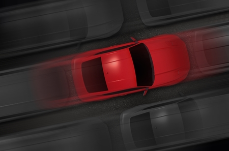 speeding: Chosen Car Between Hundreds of Other Cars. Speeding Cars Top View 3D Render Illustration. Stock Photo