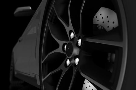 합금 휠과 스포츠 자동차의 흑백 그림. 3D 그림입니다.