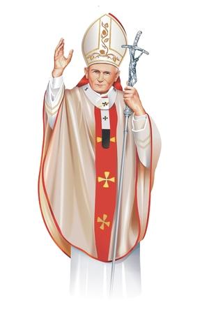 pope: Pope Saint John Paul II Illustration Isolated on White. Pope Saint John Paul II 18 May 1920 - 2 April 2005.