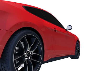 Red Modern Sports Car Side View Isolated on White Background. 3D Car Illustration. Stock Photo