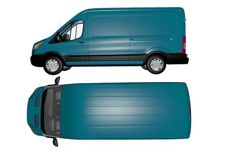 Moderne Van Geïsoleerd op wit boven-en zijkant Van Bekijk Vervoer Illustratie 3D Render Stockfoto