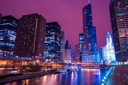 Chicago Reflections Colorful Chicago River Reflection and Downtown Night Scenery Chicago, United States