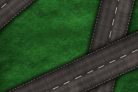 道路を横断する道路の背景イラストと芝生のフィールド