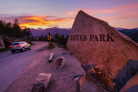 Estes Park  Highway 36 Entrance Sign at Sunset  Estes Park, Colorado, United States