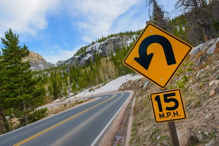 sharp curve: Sharp Curve Road  Colorado Mountain Highway and Sharp Curve Warning Sign