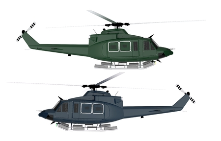 Rescue Helicopter Isolated. Two Colors To Choose From. Rescue Choppers Isolated on White.