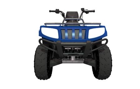 quad: Front View ATV Quad Bike Illustration. ATV Isolated on White Solid Background. Stock Photo