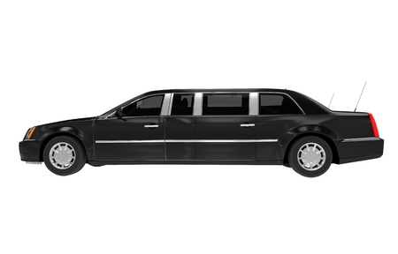 prestige: Limousine Side View Isolated on White. Black Limousine. Stock Photo