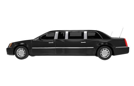 Limousine zijaanzicht geïsoleerd op wit. Zwarte limousine.