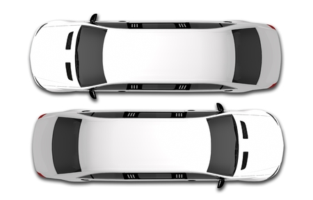White Limousine Bovenaanzicht 3D Render Illustratie. Twee Witte Limos. Stockfoto