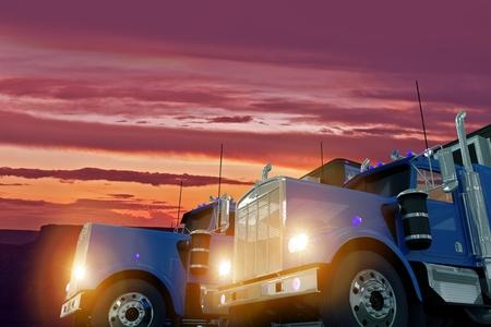 Two American Large Semi Trucks in Sunset Illustration. Trucking Business Concept. illustration