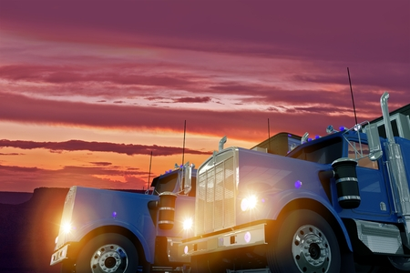 haul: Two American Large Semi Trucks in Sunset Illustration. Trucking Business Concept.