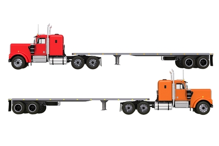 convoy: Flat Trailer Trucks Isolated on Solid White Background. Two Trucks Illustration.