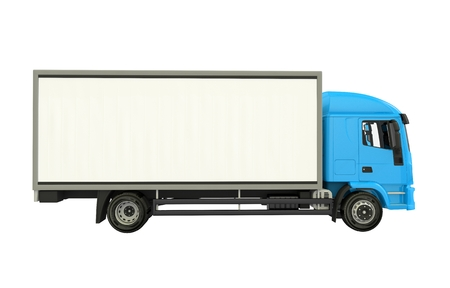 Blue Cargo Truck Isolated on White. Cargo Truck Side View Illustration 3D