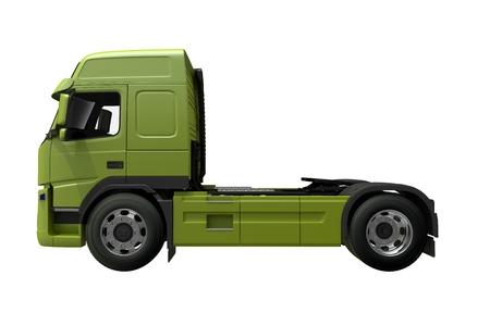 ユーロ トラクター トラック側ビューの 3 D レンダリングの図。緑色のトラックの側面図です。